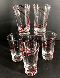 7b8f452e48c Set of 6 Hand Blown tall Shot glasses clear with red swirl ribbon FREE  Shipping