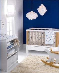 White on navy is perfect for a little boys room & looks fantastic!