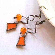 glass leaf earrings orange red gold - Google Search