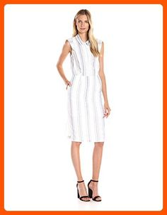Olive & Oak Women's Collared Stripe Midi Dress, White/Light Blue, Large - All about women (*Amazon Partner-Link)