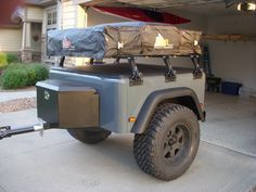 How-to build a Jeep Trailer Step 5a: The final build step is Outfitting. Common setup is a roof top tent and tongue box.