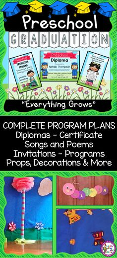"Your year end Kindergarten or Preschool graduation performance, diplomas, invitations, programs and more will be as special as your kids!  This EDITABLE complete ""EVERYTHING GROWS"" graduation theme with songs, poems, kid made decorations, props and more.  It is sure to produce smiles, tears and compliments from parents.  Best part is the kids will have fun doing it!"