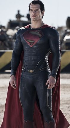"Because this suit fits him OH SO WELL! ""Henry Cavill Man of Steel""  Love this movie!!!!"