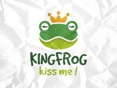 Frog King Logo designed by Ruben. Logos, Logo Branding, Branding Design, Logo Design, Creative Studio, Creative Art, Princess Logo, Frog Logo, Rick And Morty Characters
