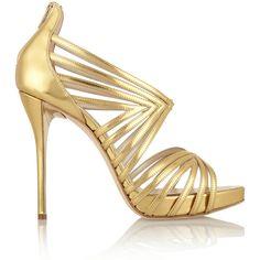 Oscar de la Renta Bree cutout metallic leather sandals (6 815 ZAR) ❤ liked on Polyvore featuring shoes, sandals, heels, metallic, metallic sandals, metallic leather sandals, high heel shoes, leather platform sandals and high heel platform sandals