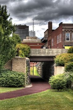 Downtown Akron Ohio Erie Canal Towpath