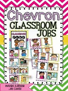 Keep track of classroom jobs this year with this adorable Chevron Classroom Jobs Clip Chart package, including 60 EDITABLE job cards! This…