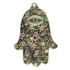 "A hamsa is an amulet shaped like a hand, with three extended fingers in the middle and a curved thumb or pinky finger on either side. It is thought to protect against the ""evil eye"" and is a popular motif in both Jewish and Middle Eastern jewelry."
