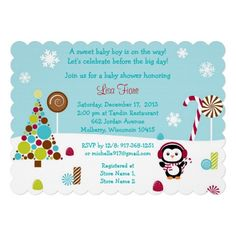 Penguin Winter Wonderland Baby Shower Invitations