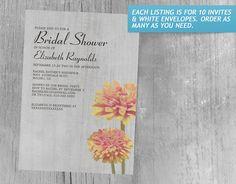 Vintage Zinnia Bridal Shower Invitations