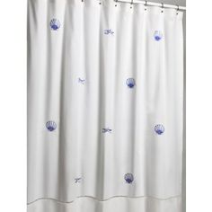 Scallop and Starfish Blue Embroidered Shower Curtain -72 x 72  132.50