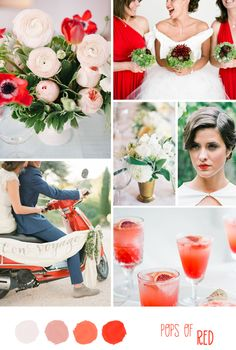 "A fabulous red inspiration board called ""Pops of Red"" that wedding blogger Esther from the lovely #Belle&Chic created for #Love4Wed! See more here http://www.love4wed.com/pops-red-inspiration-board-esther-belle-chic/"