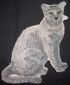 Russian Blue Cat , Embroidery Iron On Patch