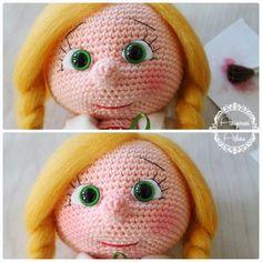 Blush on the cheeks of amigurumi baby Amigurumi Doll, Amigurumi Patterns, Doll Patterns, Crochet Patterns, Crochet Doll Clothes, Knitted Dolls, Crochet Dolls, Crochet Eyes, Crochet Diy