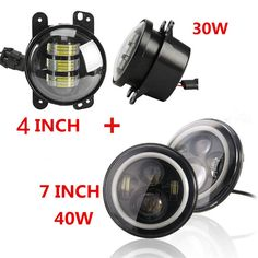 159.00$  Watch now - http://alix6g.worldwells.pw/go.php?t=32671347042 - Round 7inch LED Headlight 97-15 Wrangler with Angel eyes Halo ring and 4inch 30W LED Fog Lamps for Jeep JK Hummer