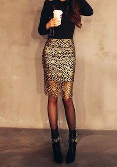 Cutout Gold Skirt @LookBookStore