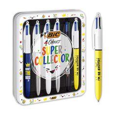 BIC Kugelschreiber, 4 Farben, mittlere Spitze (1,0 mm) – verschiedene Nachrichten, Metalldose mit 6 Stück.: Amazon.de: Bürobedarf & Schreibwaren