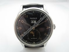 Parnis 43mm automatic black dial pilot date leather strap men\'s casual Watch
