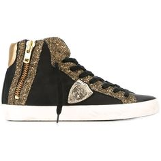 Philippe Model Glitter Panelled Sneakers (2.160 HRK) ❤ liked on Polyvore featuring shoes, sneakers, black, black leather shoes, leather trainers, black trainers, black glitter sneakers and leather shoes
