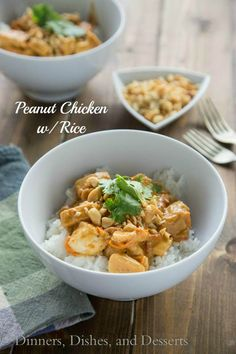 Quick and easy dinner of chicken in a peanut sauce, served over rice and topped with peanuts. Great for the whole family any night of the week.