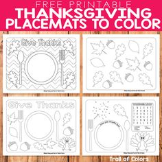 Free Printable Thanksgiving Placemats to Color - Trail Of Colors Thanksgiving Stories, Thanksgiving Crafts For Toddlers, Free Thanksgiving Printables, Thanksgiving Coloring Pages, Holiday Crafts For Kids, Thanksgiving Games, Kid Crafts, Thanksgiving Placemats, Thanksgiving Decorations