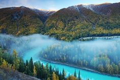 """River of Dream by Jacky CW The most famous viewing spot of Kanas Nature Reserve in northern Xinjiang Province (China), """"The Moon Bay"""". Places Around The World, Around The Worlds, All Nature, Belleza Natural, Nature Reserve, Nature Pictures, Landscape Photos, Beautiful Landscapes, The Great Outdoors"""