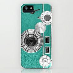 Teal retro vintage phone iPhone Case by Wood-n-Images - $35.00