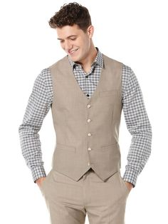Two Toned Twill Suit Vest | Perry Ellis
