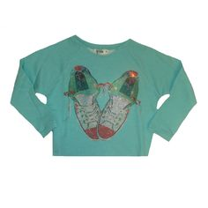 So Twee by Miss Grant Girls Aqua Blue Crop Sweater With Converse Print