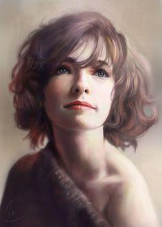 """Portrait Study"" - Vu Nguyen {figurative realism art female head woman face digital painting}"