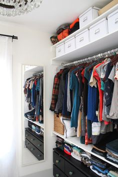 Professional Organizer Tips: What NOT To Do When Decluttering Apartment Therapy Master Closet, Closet Bedroom, Bedroom Storage, Closet Space, Closet Bar, Master Bedroom, Front Closet, Boys Closet, Tiny Closet