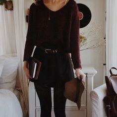 It's so cold i am so done with it but here is the outfit i think i'm wearing today..brandy melville maroon sweater & skirt with a brown belt & tights, h&m hat, chameli necklace