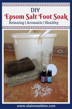 Ahh...Love this DIY Epsom Salt foot soak with essential oils for a little relaxing at home spa-like treat to moisturize and soften, aid with sleep and lower stress, and more. #healthyliving #naturalremedies #wholenewmom #wahm #sahm #momlife via @ElaineWatkinsFLC
