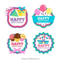 Pack of four retro birthday stickers Happy Birthday Tag, Happy Birthday Printable, Retro Birthday, Birthday Clipart, Birthday Tags, Happy Birthday Cake Topper, Happy Birthday Quotes, Birthday Greetings, Gift Tags Printable