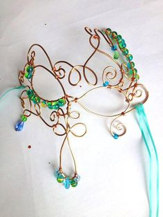 Twisty Wire and Bead Mask/ Elegant Wire Mask/ Copper Wire Mask/ Teal Bead and Twisted Wire Mask