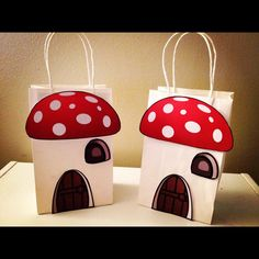I am gonna have to make my own version of these I think ;o) Smurf Inspired Mushroom House Party Favor Goody bags