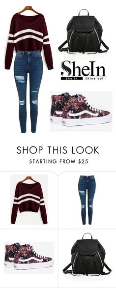 """""""SHEIN Sweater"""" by tania-alves ❤ liked on Polyvore featuring Topshop, Vans and Rebecca Minkoff"""