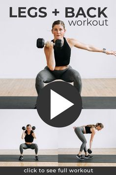 This efficient STRENGTH workout combines the two largest muscle groups in the body -- the back and legs. Super-setting six leg exercises and four back exercises in the best legs and back dumbbell workout at home! This workout video is DAY 1 of our SplitStrong 35: FREE 2-Week Workout Program at home with dumbbells! Leg And Back Workout, Back Workout At Home, Dumbbell Workout At Home, 2 Week Workout, Push Workout, Strength Training Workouts, Body Workouts, Weight Training, Weight Lifting