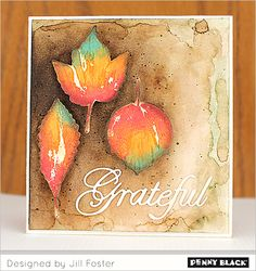 Visit the Penny Black blog for a video tutorial demonstrating the creation of this card using our new Fall 2014 collection of stamps and Creative Dies