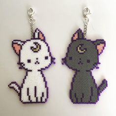 beads Sailor Moon Luna Artemis Cats Japanese Key Chains Key Finders Clasp Kittens Kitty Decor Pixels Beads Key Chain Keychains by KandiQueenBeads on Etsy Perler Bead Templates, Diy Perler Beads, Perler Bead Art, Pearler Beads, Melty Bead Patterns, Pearler Bead Patterns, Perler Patterns, Beading Patterns, Beading Tutorials
