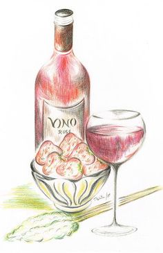 Vino rose with Strawberries