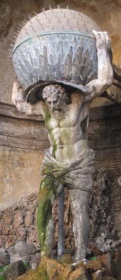 Atlas fountain,  Villa Aldobrandini, Frascati.