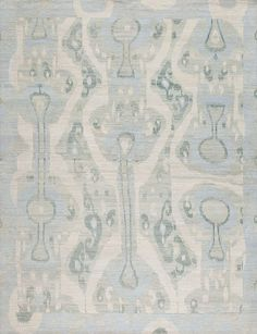 Ivory and Blue IKAT