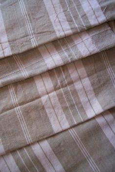 Vintage French ticking, linen mattress ticking stripe fabric, HUGE, beige kaki…