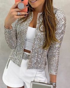 Nine Points Sleeve Straight Sequins Standard Women's Jacket Fashion girls, party dresses long dress for short Women, casual summer outfit ideas, party dresses Fashion Trends, Latest Fashion # Sequin Coats, Glitter Jacket, Summer Outfits, Casual Outfits, Look Fashion, Womens Fashion, Fashion Trends, Latest Fashion, Fashion Videos