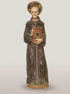 Bartolomeo Bellano (Padova 1434 circa – 1496 o 1497), San Bernardino da Siena, 1450-1455 circa. Legno intagliato dipinto e dorato, Padova, chiesa dei Santi Filippo e Giacomo agli Eremitani.