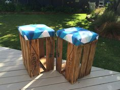 Old beer crates repurposed into funky stools!