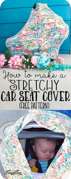This stretchy baby car seat cover pattern is quickly sewn! With easy to … - My Sewing Projects Sewing Projects For Beginners, Sewing Tutorials, Sewing Hacks, Sewing Tips, Sewing Ideas, Sewing Designs, Baby Sewing Projects, Sewing Crafts, Sewing Patterns Free
