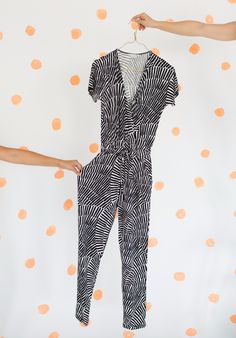 What happened when the whole @ohjoy team styled up the Black Geo Swirl Jersey Jumpsuit. Take a look at Joy Cho's blog post to see how each of her colleagues wore it.
