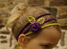 """bandeau fleurs crochet + tricotin de """"Des étoiles et des pois"""""""